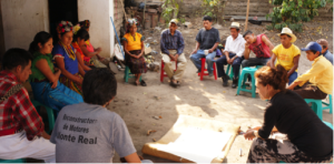During the participatry video training the villagers of San Andres Sacjabja prepare the story board for their film.