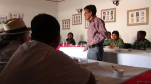 Felipe Gomez leads a discussion on community forest management at the Guatemala workshop. from a community perspective many other issues like hydro electrics and palm oil are often related to the way forests are managed. Photo: Bas Verschuuren.