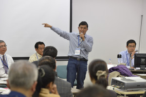 Mr. Jailab Rai from Nepal, a chapter author to the publication is here seen at the Asian Parks Congress explaining the importance of scared natural sites in relation to protected areas in Nepal. Photo: APC.