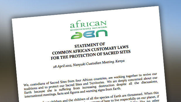Statement of the Common African Customary Laws for the Protection of Sacred Sites
