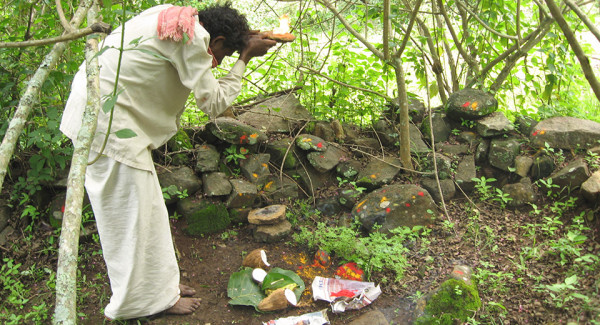 A Soliga paying his obeisance at Devaru sacred natural site in Biligiri Rangaswamy Temple Wildlife Sanctuary, Karnataka, India. After the declaration of the BRTWS in 1974, new rules have made traditional Soliga practices harder and harder, for example by restricting access to their sacred natural sites. Following a ruling by the country's Supreme Court in 2006, a near-complete ban was imposed upon the collection of NTFPs within sanctuaries and natural parks. In a response to this, the Soliga GPS'ed and mapped their sacred and cultural sites in the forests of the Biligiri Rangaswamy Temple Wildlife Sanctuary. The topographic sheets with sacred natural sites on it were used to help locate the clan boundaries followed by subsequent visits to ascertain the boundaries of the yelles or sacred natural sites. (Source: Nitin, D Rai.)
