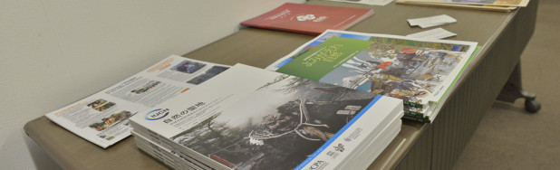 Copies of the Japanese IUCN UNESCO Sacred NAtural Sites Guidelines on display at the side event where group work took place. Source: APC