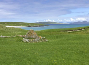 Cladh Manach, the Monk's Field. All the monks that died in the islands that lie northward from Egg were buried in this little plot: each grave had a stone at both ends, some of which are three, and others four feet high. Photo: Alastair McIntosh.